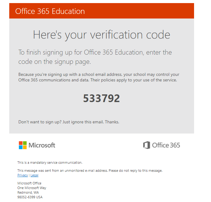 Verification Code Email