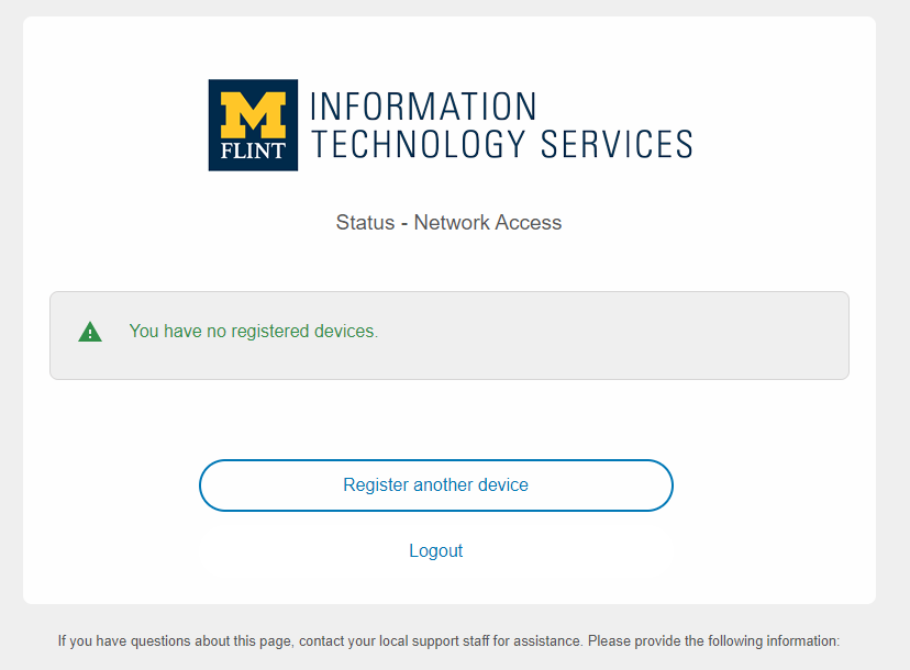 Registered device status screen and the register another device screen